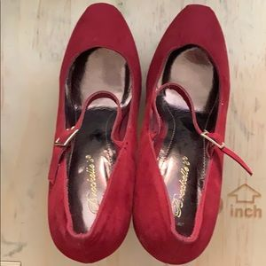 Red heels with strap. Size 9